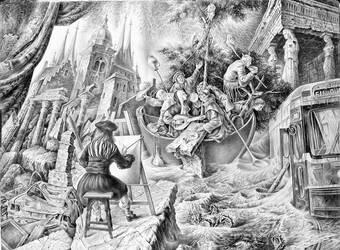 The Ship of Fools (drawing) 56,7cm x 76,5cm by kolobok1969