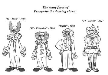 The many faces of Pennywise the dancing clown by Bakhtak