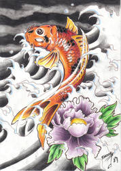 Koi and lotus by BettieBoner