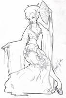 Geisha - lineart by BettieBoner