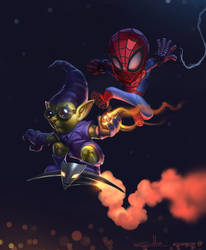 Spidey/Green goblin collab by edsfox