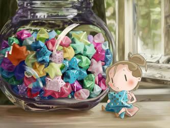 Jar of stars by ElleDrawsAndStuff