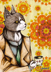 Having a nice cat of tea by Catwithouteyes