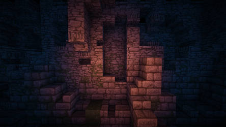 Minecraft wall close-up at night with shaders. by HusseinHorack