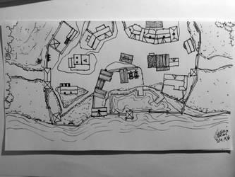 Coastal Village Line Drawing (24.9.16) by HusseinHorack