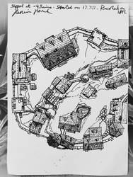 Small Medieval Castle Village (A3, Fountain Pen) by HusseinHorack