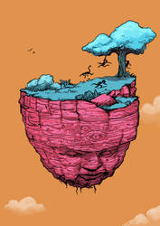 Floating Face Island by timmolloy