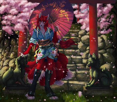 Kitsune and the shrine by T0xicEye