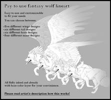 Pay-to-use/dA Points Fantasy Wolf lineart by T0xicEye