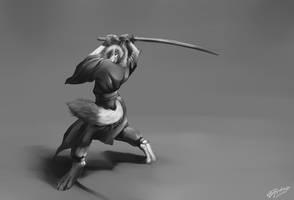 Anatomy Study: Greyscale Samurai by T0xicEye