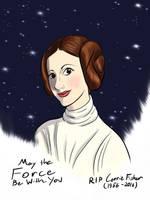 Carrie Fisher AKA Princess Leia Tribute  by DevinQuigleyArt