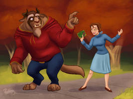 Belle and the Beast in the Park by DevinQuigleyArt