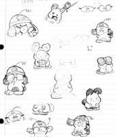 Momo bunny pen sketches by Momogirl