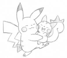 Pikachu and Pachirisu by Momogirl
