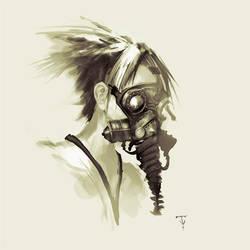 Girl Wearing Mask. by ArtofTy