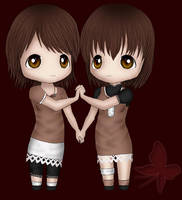 Mio and Mayu Chibi by Rope-Shrine-Maiden