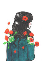 The Girl with the Poppy Flower Tattoo by Kirschpraline