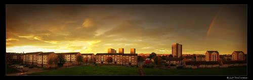 tilly sunset rainbow pano by kihsleek