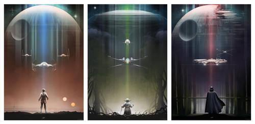 Star Wars: Luke, Yoda, Vader by AndyFairhurst