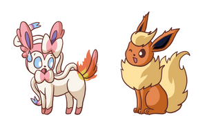 Commission - playful Sylveon and Flareon by LVStarlitSky