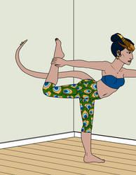 Samar doing Yoga by Gwennafran