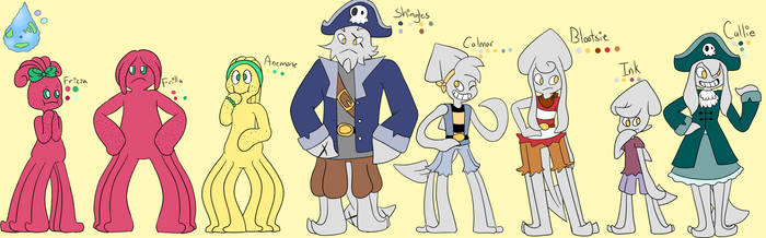 Planet Aquamarine Characters 2 by Camichuriin