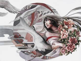 white kimono and cranes by RINrumiKA