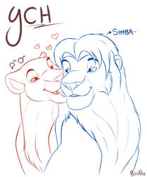A romantic moment with Simba - YCH Valentine's Day by BooKhaTLK