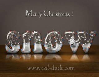 Snow Text Christmas Photoshop Tutorial by PsdDude