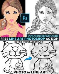 Line Art Action PhotoshopSupply Freebie by PsdDude