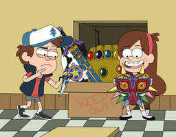Dipper and Mabel find mystery stuffs by Deaf-Machbot