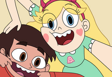 Star and Marco took a silly selfie by Deaf-Machbot
