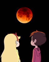Star and Marco look super blue blood moon by Deaf-Machbot