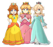 Super Mario Bros - Three Princesses by chocomiru02