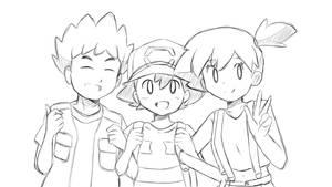 Pokemon - Kanto Trio Reunion (Sketch) by chocomiru02
