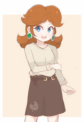 Princess Daisy - Casual Outfit (Colored Sketch) by chocomiru02
