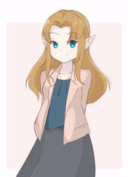 Princess Zelda - Casual Outfit (Colored Sketch) by chocomiru02