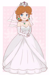 Princess Daisy - Wedding Dress (Colored Sketch) by chocomiru02