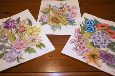 Floral Monogram Letters by Loilie