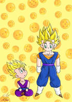 Dragon Ball - Gohan 90 (GOHAN and VEGETO chibi) by songohanart