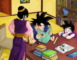 Dragon Ball - Goku have to study !! =)) by songohanart