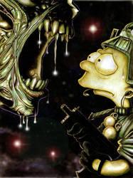 Bart versus Aliens by mikerivero