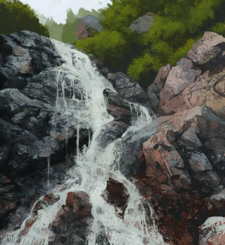 Mountain-waterfall by gothicAge