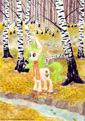 Among birches (MLP OC - Blooming Pencil) by Sanya-Mosaica