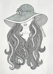 girl in hat by Tatyanka-Gunchak
