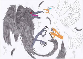 Mumm-Ra vs Mumm-Rana in Bird Forms (Requested) by OkamiRyuu1993