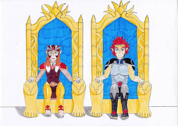 King Lion-O and Queen Pumyra (Requested) by OkamiRyuu1993
