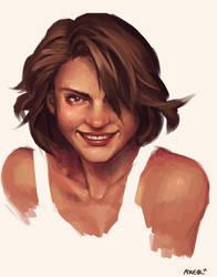 Smiling woman by JayAxer