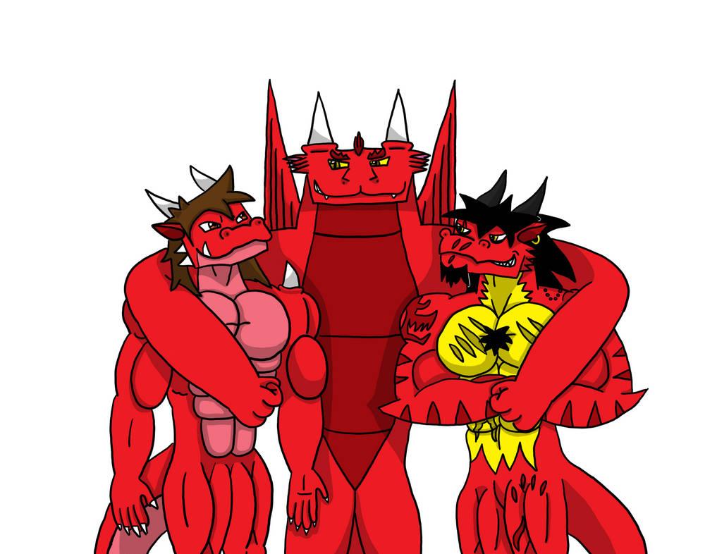 Red Trio by RyukiGrayDragon