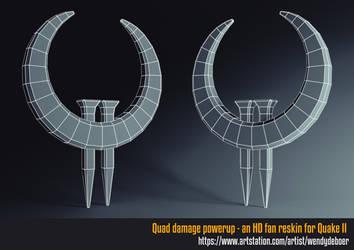Quad damage powerup wireframe by Wayuki